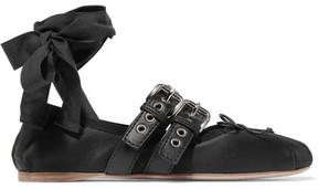 Miu Miu Lace-up Leather-trimmed Satin Ballet Flats - Black