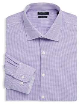 Tailorbyrd Trim-Fit Gingham Cotton Dress Shirt
