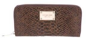 Michael Kors Embossed Leather Zip Wallet