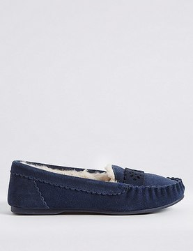Marks and Spencer Suede Laser Cut Moccasin Slippers