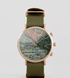 Reclaimed Vintage Inspired Map Canvas Watch In Green Exclusive To ASOS