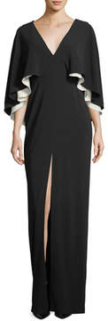 Halston Colorblock V-Neck Cape Evening Gown