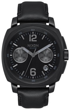 Nixon Men's Charger Chronograph Leather Strap Watch, 42Mm