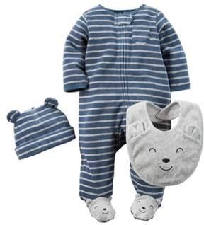 Carter's Baby Clothing Outfit Boys 3-Piece Terry Sleep & Play Set Bear, Navy, 6M