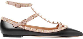 Valentino The Rockstud Leather Point-toe Flats - Black