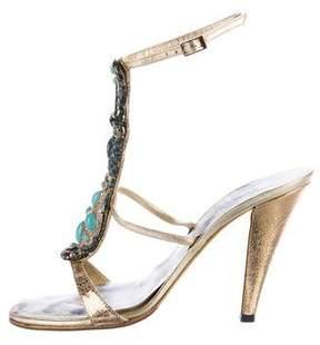 Roberto Cavalli Snake-Embellished Platform Sandals