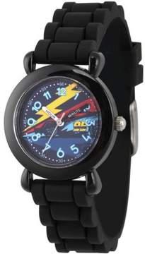 Disney 3 Lightning McQueen Boys' Black Plastic Time Teacher Watch, Black Silicone Strap