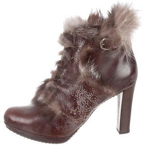 Henry Beguelin Fox Fur-Trimmed Leather Ankle Boots w/ Tags