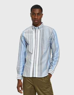 Beams Button Down Oxford Wide Candy Stripe in Blue