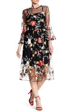 ECI Embroidered Mesh Fit & Flare Dress