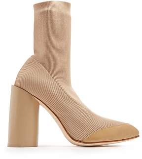 Toga Heel Knit leather-trimmed ankle boots