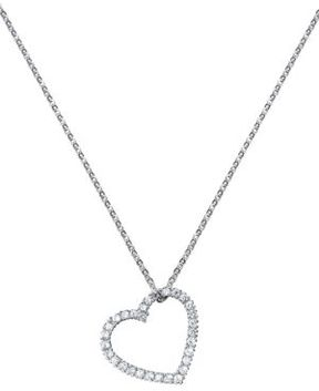 Crislu Platinum Finished Sterling Silver and Cubic Zirconia Heart Pendant Necklace