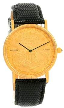 Corum 20 Dollars Coin Double Eagle 18K Yellow Gold & Leather 36mm Mens Watch 1895