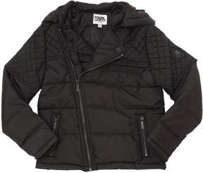 Karl Lagerfeld Hooded Quilted Nylon Puffer Jacket