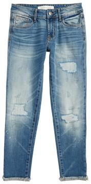 Treasure & Bond Girl's Crop Distressed Girlfriend Jeans
