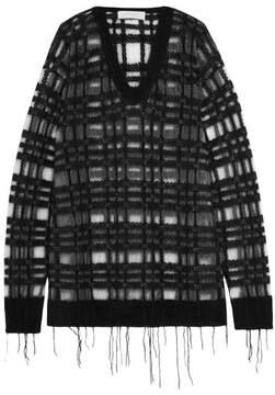 Esteban Cortazar Open-knit Mohair-blend Sweater - Black