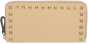 Valentino Beige Garavani Rockstud Continental Zip Wallet