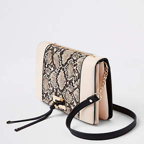 River Island Beige snake print panel cross body bag