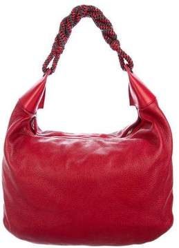 Oscar de la Renta Grained Leather Hobo