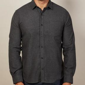 Blade + Blue Solid Charcoal Brushed Cotton Shirt - Marks