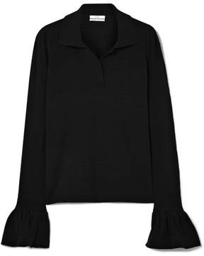 Co Ruffled Slub Silk-blend Top - Black