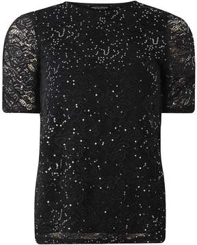 Dorothy Perkins Black Sequin Ruched Sleeve Lace Top