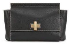 Hugo Boss BOSS Bespoke Soft C Leather Grained Satchel Handbag, Detachable Shoulder Strap One Size Black