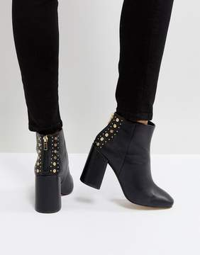 New Look Square Toe Studded Back Heeled Ankle Boot