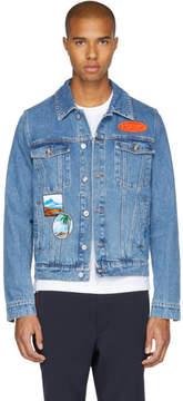 Kenzo Blue Denim Badges Jacket