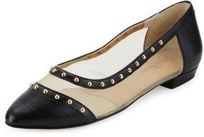 Neiman Marcus Gertrude Studded Mesh Inset Ballerina Flats, Beige/Black