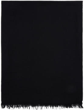 Rick Owens Black Cashmere and Cotton Scarf