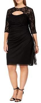 Betsy & Adam Plus Size Lace Cutout 3/4 Sleeve Dress.