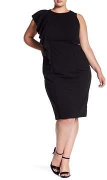 London Times Asymmetrical Ruffle Crepe Sheath Dress (Plus Size)