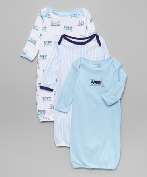 Luvable Friends Blue Train Three-Piece Gown Set - Newborn