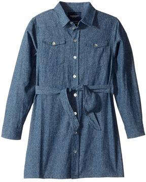 Toobydoo Soft Denim Belted Shirtdress Girl's Dress