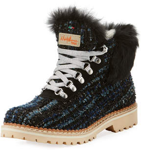 Neiman Marcus La Montelliana Sequoia Fur-Trim Metallic Knit Hiker Boot