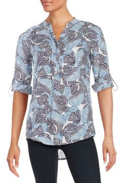 Context Paisley Roll Sleeved Top