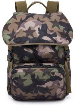 Valentino Camouflage Star Nylon & Calf Leather Backpack