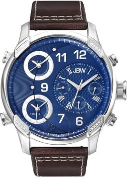 JBW G4 Multi-Time Zone Blue Dial Stainless Steel Case Brown Leather Men's Watch