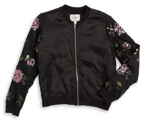 Jessica Simpson Girl's Floral Sequin Detail Bomber Jacket