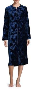 Karen Neuburger Velvet Floral Zip-Up Robe
