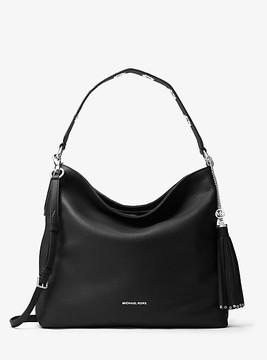 Michael Kors Brooklyn Large Leather Shoulder Bag - BLACK - STYLE