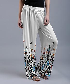 Lily White Butterfly Palazzo Pants - Women & Plus