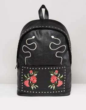 Asos Leather Backpack In Black With Embroidered Design