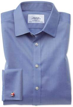 Charles Tyrwhitt Extra Slim Fit Non-Iron Twill Mid Blue Cotton Dress Shirt Single Cuff Size 14.5/33