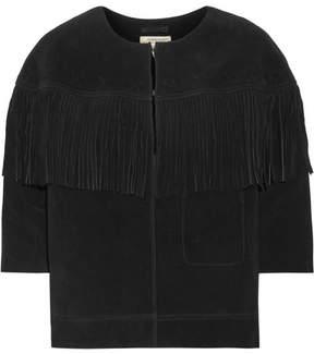 Current/Elliott The Junie Fringe-trimmed Suede Jacket - Black