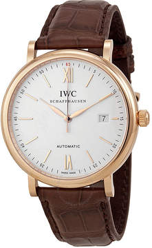 IWC Portofino Silver Dial 18kt Rose Gold Case Brown Leather Strap Automatic Men's Watch