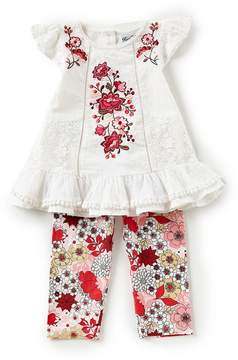 Rare Editions Little Girls 2T-6X Floral-Embroidered Lace Top & Floral-Print Knit Leggings Set