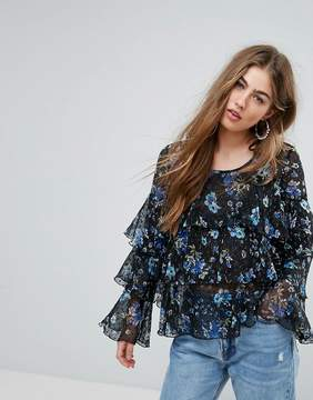 PrettyLittleThing Floral Ruffle Tier Blouse