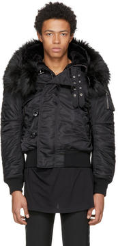 Faith Connexion Reversible Black Nylon and Faux-Fur Jacket